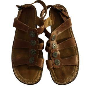 Josef Seibel brown silver medallion buckle sandals